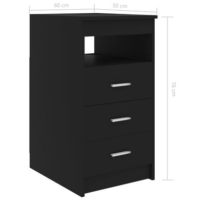 vidaXL Ladekast 40x50x76 cm spaanplaat zwart
