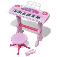 vidaXL Speelgoedkeyboard met krukje/microfoon en 37 toetsen roze , Roze