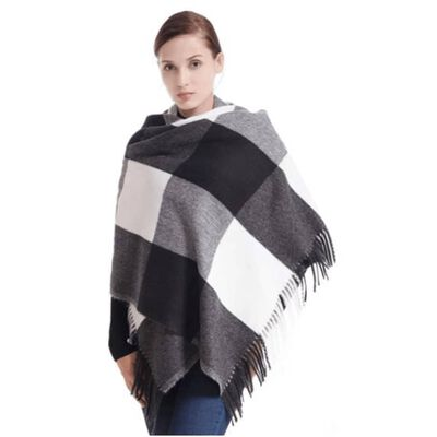 Sjaal 180x70 Cm Zwart / Wit Geruit