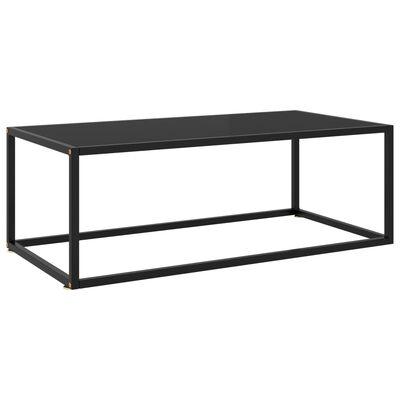 vidaXL Theetafel met zwart glas 100x50x35 cm zwart