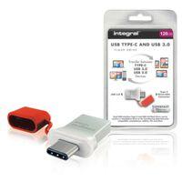 Integral INFD128GBFUS3C Usb Stick Usb 3.0 128 Gb Aluminium/rood