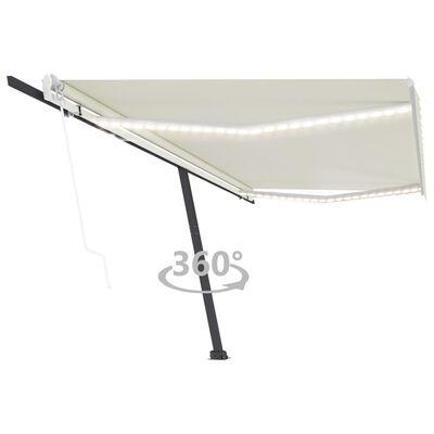 vidaXL Luifel automatisch met LED en windsensor 500x350 cm crèmekleur