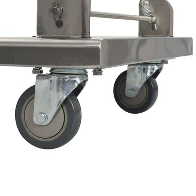 vidaXL Platformwagen 82x53x86 cm roestvrij staal zilverkleurig