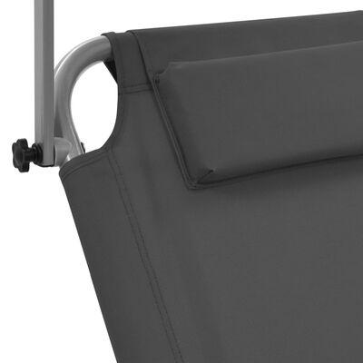 vidaXL Ligbed met luifel en wieltjes inklapbaar staal grijs
