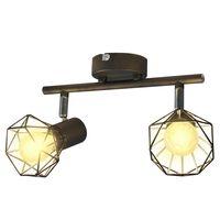 vidaXL Lamp industrieel met 2 LED's zwart
