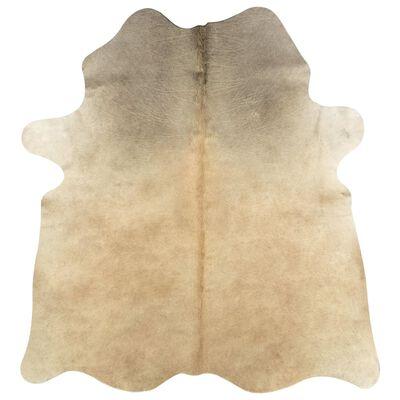 vidaXL Vloerkleed 150x170 cm echte runderhuid beige