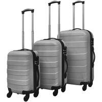 vidaXL Harde kofferset 3-delig zilver
