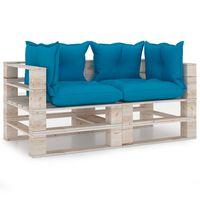 vidaXL Tuinbank 2-zits met kussens pallet grenenhout