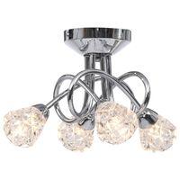 vidaXL Plafondlamp met glazen raster lampenkappen voor 4 x G9 peertjes