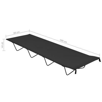 vidaXL Campingbedden 2 st 180x60x19 cm oxford stof en staal zwart