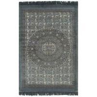 vidaXL Kelim vloerkleed met patroon 120x180 cm katoen grijs