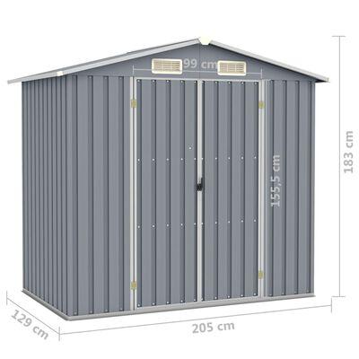 vidaXL Tuinschuur 205x129x183 cm gegalvaniseerd staal grijs