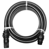 vidaXL Zuigslang met koppelingen 4 m 22 mm zwart