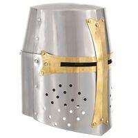 vidaXL Kruisvaardershelm middeleeuws replica LARP staal zilverkleurig