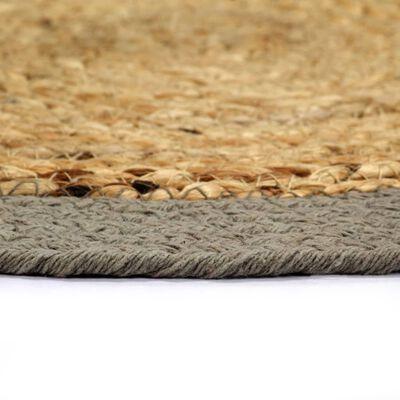 vidaXL Placemats 4 st 38 cm jute en katoen natuurlijk en grijs