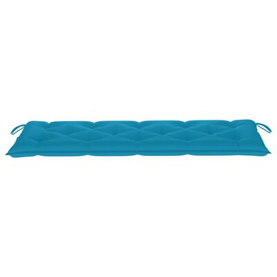 vidaXL Tuinbank met lichtblauw kussen 150 cm massief teakhout