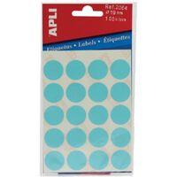 Apli ronde etiketten in etui diameter 19 mm, blauw, 100 stuks, 20 p...
