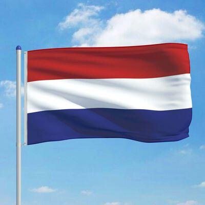 vidaXL Vlag met vlaggenmast Nederland 6 m aluminium