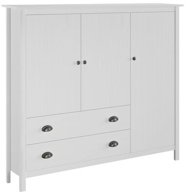 vidaXL Kledingkast 3 deuren Hill Range 142x45x137 cm grenenhout wit