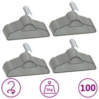 vidaXL 100-delige Kledinghangerset anti-slip fluweel grijs