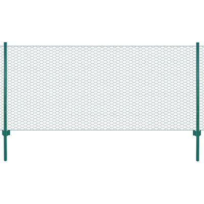 vidaXL Draadgaashek met palen 25x0,75 m staal groen