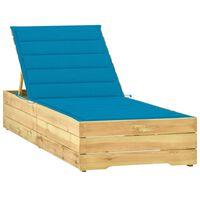 vidaXL Ligbed met blauw kussen geïmpregneerd grenenhout