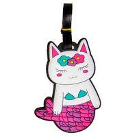 LG-Imports bagagelabel poes 18 x 8 cm wit/roze