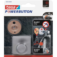 1x Tesa Powerbutton chroom vierkante haak large - Klusbenodigdheden -