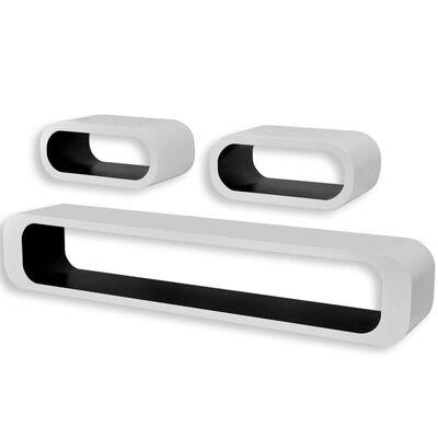 Wandplanken kubus MDF zwevend voor boeken/dvd wit-zwart 3 st