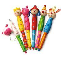 """pennen met """"houten hoofden"""" diverse varianten 13 cm"""