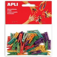 Apli houten gekleurde mini wasknijpers, blister met 45 stuks in gea...