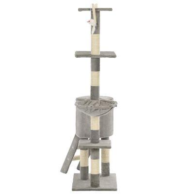 vidaXL Kattenkrabpaal met sisal krabpalen 138 cm grijs