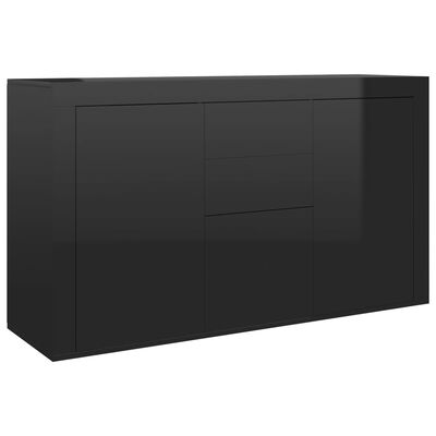 vidaXL Dressoir 120x36x69 cm spaanplaat hoogglans zwart
