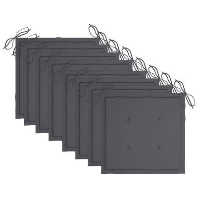 vidaXL Tuinstoelen 8 st met kussens massief acaciahout grijs