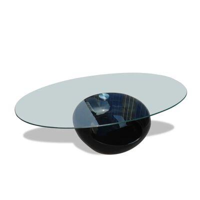vidaXL Salontafel met ovale glazen tafelblad hoogglans zwart
