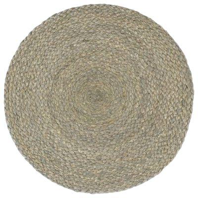 vidaXL Placemats 6 st rond 38 cm jute effen grijs
