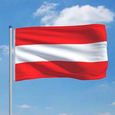 vidaXL Vlag met vlaggenmast Oostenrijk 6 m aluminium