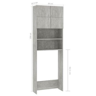 vidaXL Wasmachinekast 64x25,5x190 cm spaanplaat betongrijs