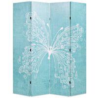 vidaXL Kamerscherm inklapbaar vlinder 160x170 cm blauw