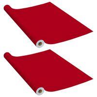 vidaXL Meubelfolies zelfklevend 2 st 500x90 cm PVC rood
