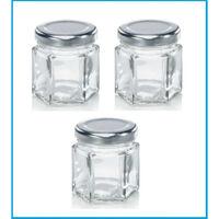 Leifheit 3208 Jampot Zeshoekig 47 ml Glas/Zilver (set van 3 stuks)