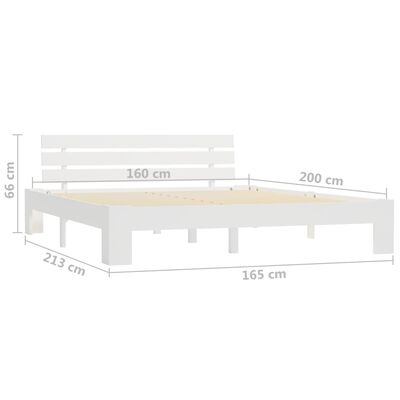 vidaXL Bedframe massief grenenhout wit 160x200 cm