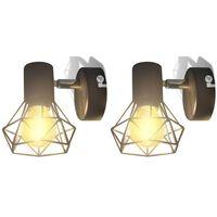 vidaXL Wandlampen 2 st met LED industriële stijl zwart