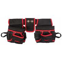 Toolland Gereedschapsriem elektricien dubbele buidels zwart/rood FI68
