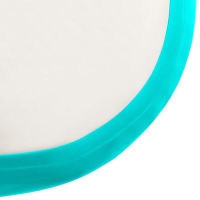 vidaXL Gymnastiekmat met pomp opblaasbaar 400x100x20 cm PVC groen