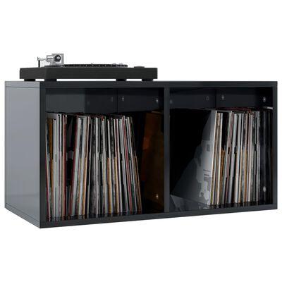 vidaXL Opbergbox voor LP's 71x34x36 cm spaanplaat hoogglans zwart