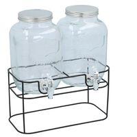 Dubbele drankdispenser - 2x 4 liter - Inclusief standaard - 33x17x32cm