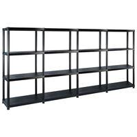 vidaXL Opbergrek 4-laags 244x30,5x130 cm kunststof zwart