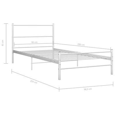 vidaXL Bedframe metaal wit 90x200 cm