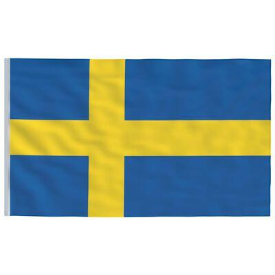 vidaXL Vlag met vlaggenmast Zweden 6,2 m aluminium